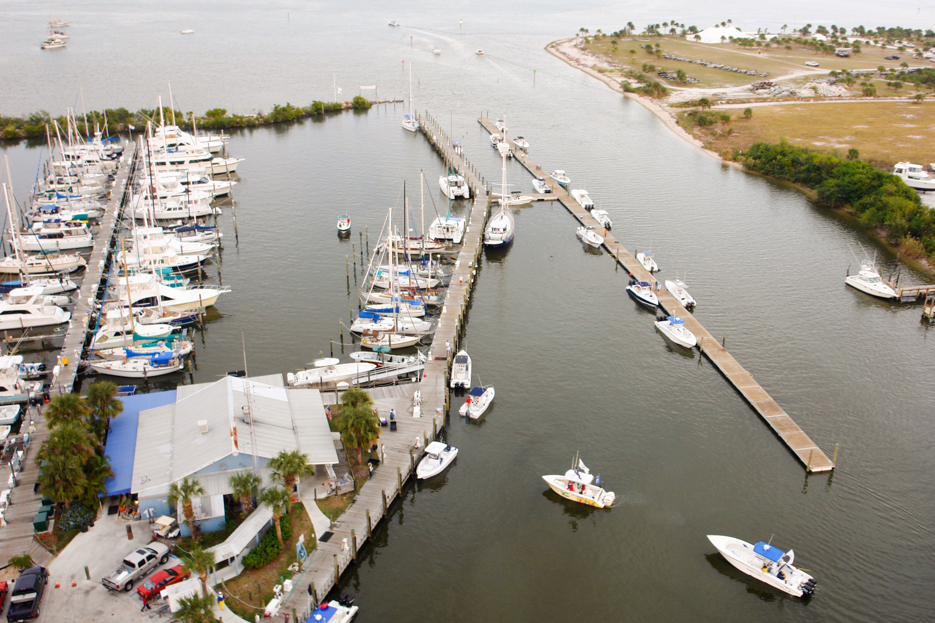 SKA Fishing Tournament Floating Docks - Aerial shot towards the water - Allsports Productions