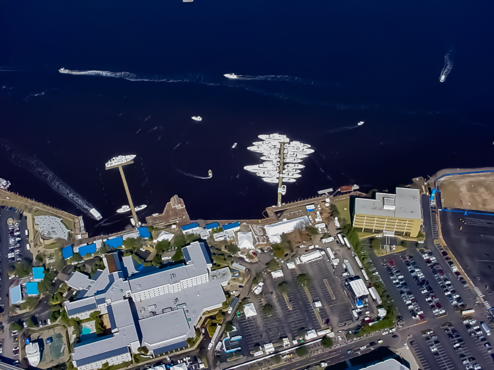 Super Bowl XXXLX - Aerial Shot of both floating docks - Allsports Productions