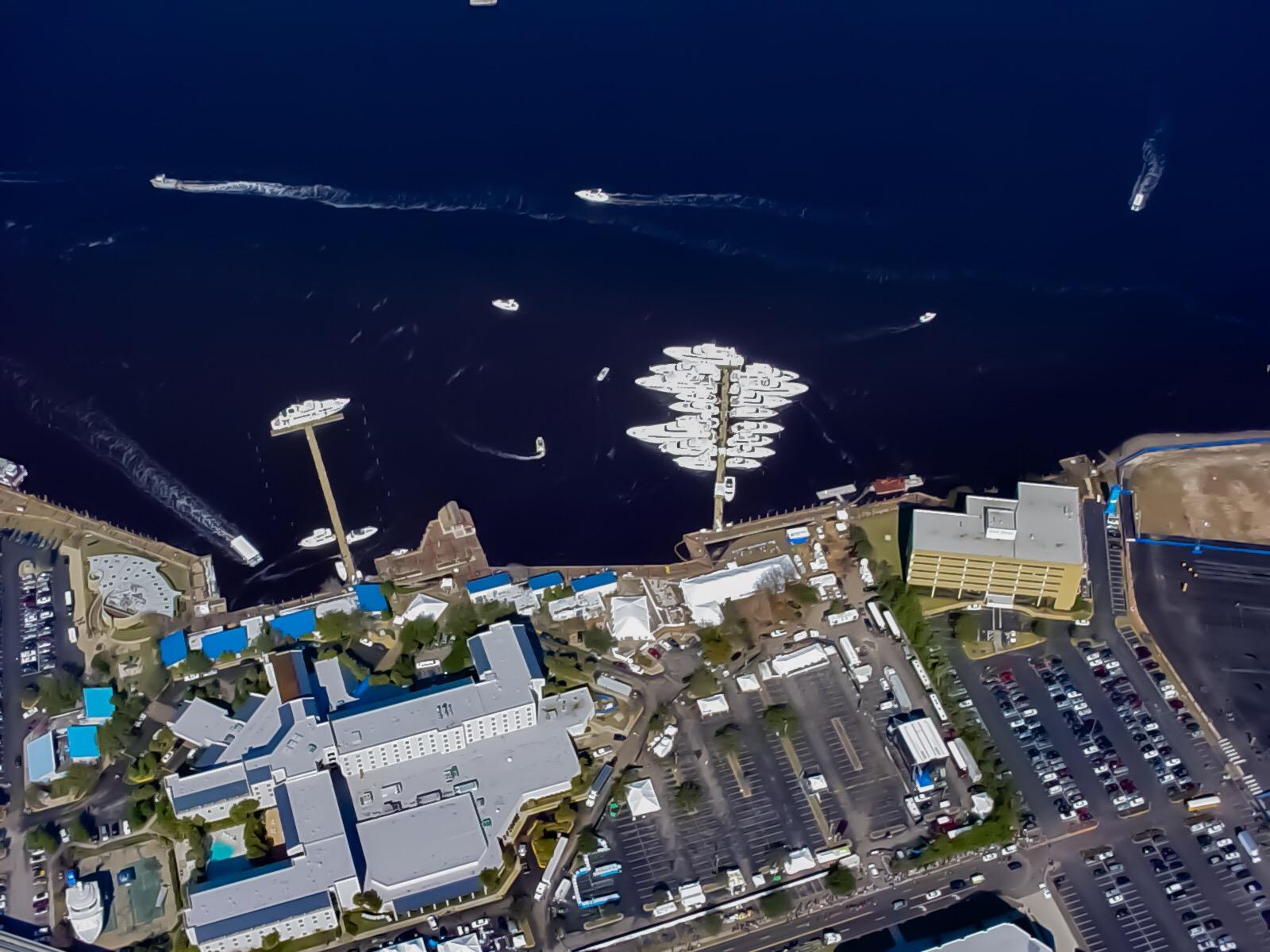 Super Bowl XXXLX - Aerial Shot of both floating docks - Allsports Productions